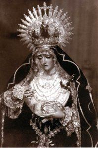 Primitiva imagen de Ntra. Sra. de la Soledad, quemada en la Guerra Civil Española en Julio de 1.936